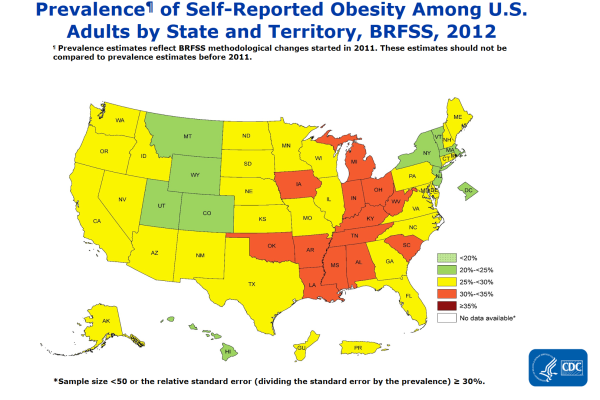 CDC - アメリカの肥満率2012