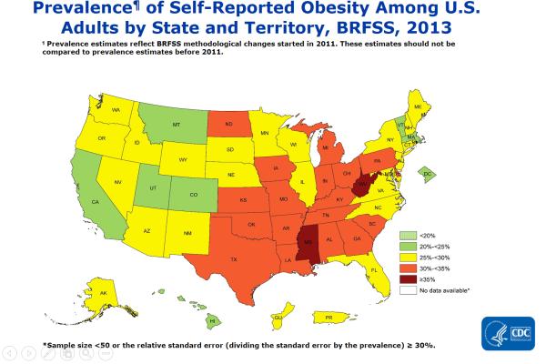 CDC - アメリカの肥満率2013