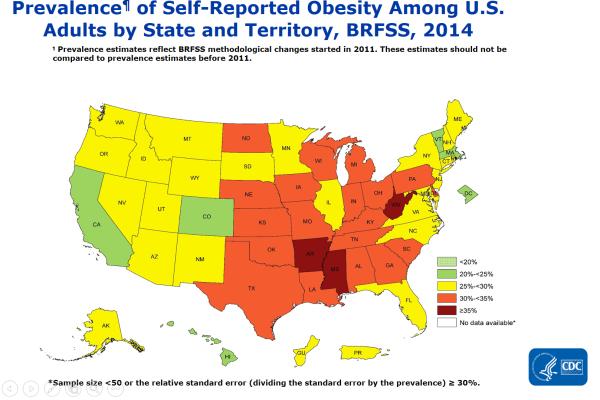 CDC - アメリカの肥満率2014