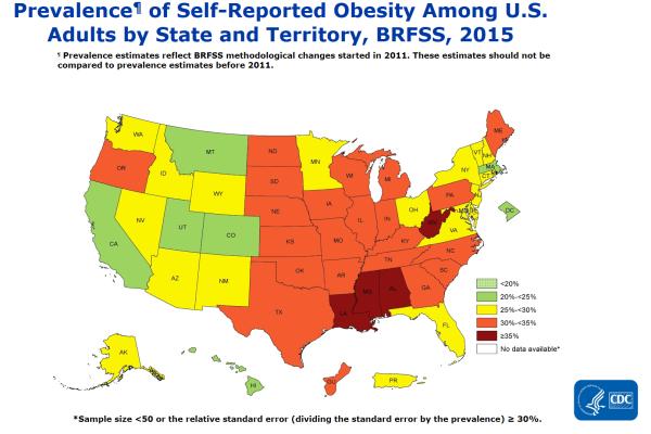 CDC - アメリカの肥満率2015