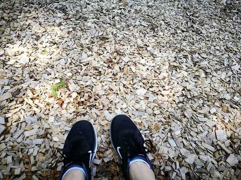 ウッドチップ-東京とは思えない!檜原都民の森で森林セラピーロードを歩いてきたよ-yumiid.com
