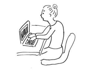 姿勢が悪い人(パソコン)-猫背の人なら知っておきたいことと、良い姿勢を保つための対策-yumiid.com